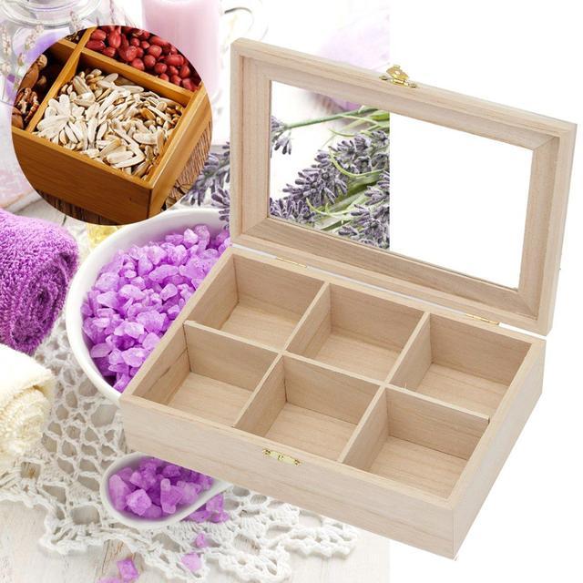 Natural Pine Wood Storage Box Tea Bag Storage Box Bin With Lid 6  Compartments Storage Holder