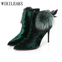Ladies Feather High Heel Boots Ankle Boots For Women Winter Boots Fetish High Heels Velvet Boots
