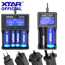 XTAR VC4 Charger VC2 With Adapter LCD Screen Display Ni-MH/Ni-CD Li-ion USB Charger For AA AAA 21700 20700 18650 Battery Charger xtar vc4 lcd screen usb battery charger for 18650 26650 14500 battery