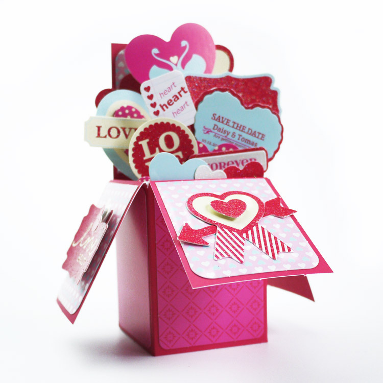 Sweet Heart Shapes Card In A Box Valentine Pop Up Card Box – How to Make a Valentines Pop Up Card