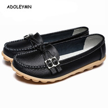 2018 New Soft Genuine Leather Women's Shoes Slip On Woman Loafers Moccasins Female Flats Casual Women Buckle Boat Shoe Plush цена в Москве и Питере