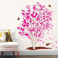 Pegatina de pared de árbol de sueño Rosa romántico, calcomanías de arte extraíbles para dormitorio, Fondo de sala de estar, decoración del hogar, mural, pegatinas