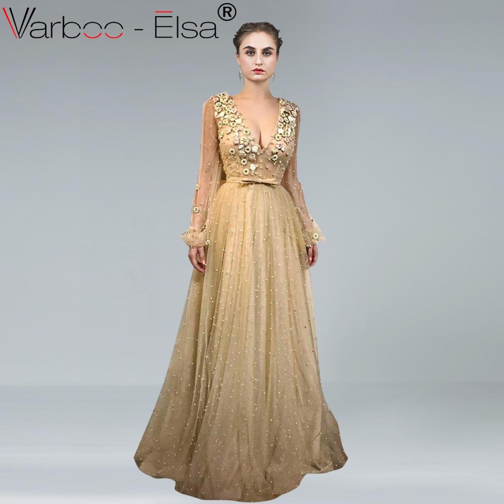 9e9a194431 VARBOO ELSA Brilliant Gold pearl Prom Dresses 2018 Long Sleeves Evening  Dress A-line V Neck