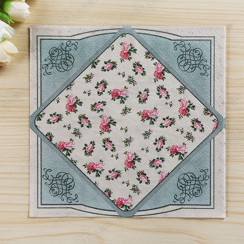 200pcs Vintage Hallmark Cocktail Napkins Retro Blue Pink Flower Beverage Paper Napkin for Wedding Birthday Tea Garden Party