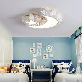 Потолочные светильники для детской комнаты, светодиодные теплые звезды, луна, креативный мультфильм для мальчиков и девочек, лампы для спал...