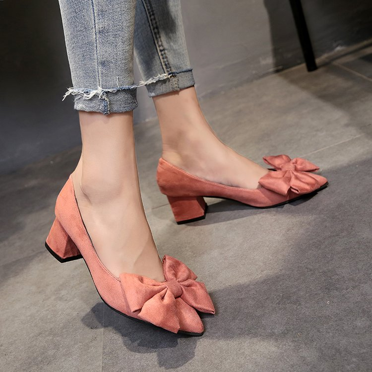 EOEODOIT 2019 Spring  Autumn Pumps Big Bowknot Med Square Heel Pointed Toe Heels Shoes Slip On 5 CM Chunky Heel Office Casual