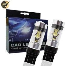 2 шт. T20 7443 светодиодный высокое Мощность 3030 20SMD W21/5 Вт светодиодный лампы вождение автомобиля задний фонарь стоп обратный Автомобильные стояночные огни 6000 К Белый 12 В-24 В