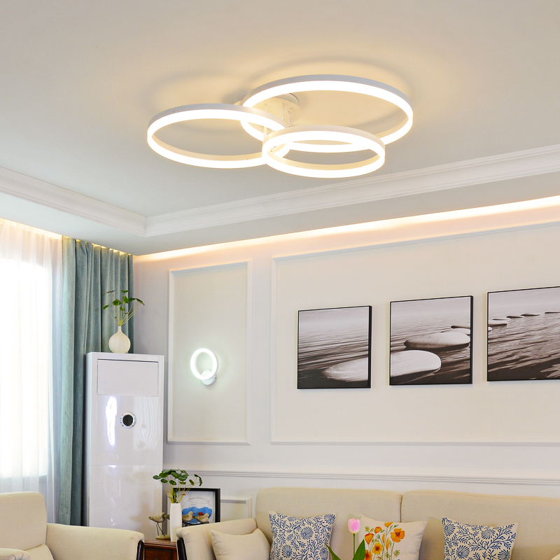 New Arrival designer Creative Circle rings modern LED ceiling lights for livingroom bedroom Remote control ceiling lamp fixtures ...