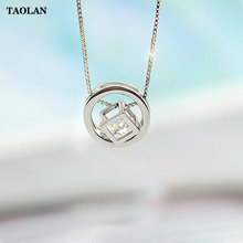 TAOLAN S925 Sterling Silver Circle Cube Necklaces & Pendants For Women Fashion Lady Cubic Zirconia Jewelry TLN8180