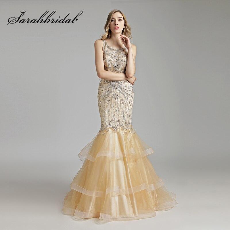 Magnifique Top En Dentelle Longue Sirène Robes De Soirée avec De Luxe Perles Cristal Tulle Manches O-cou Formelle Gala Partie Robes OL492