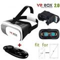 Caja de caja de 2.0 gafas de realidad virtual 3d cartón vr vr para iphone 6/6 plus samsung teléfonos celulares + remote controller gamepad