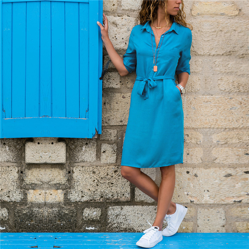 Fashion Turn-down Collar Party Autumn Shirt Dress Women Solid Three Quarter Sleeve Summer Dress Plus Size Casual Vestidos Robe
