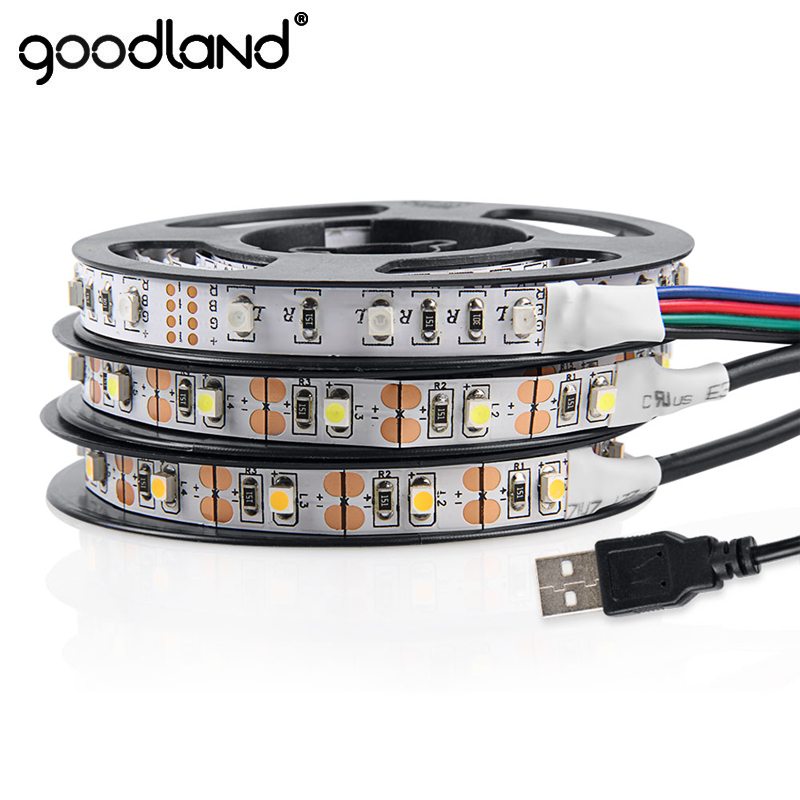 Goodland USB LED Strip Light DC 5V USB LED Cinta SMD 3528 LED Cinta 50 cm 1 m 2 m 3 m 4 m 5 m Luz de fondo de TV de luz flexible