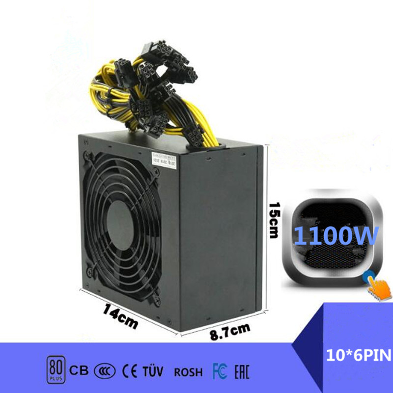 1100W PC Power Supply 1100W PC Power Switch for Asic Bitcoin Miner 1100W ETH <font><b>DC</b></font> <font><b>ATX</b></font> <font><b>PSU</b></font> Mining Rig Mining Power Supply Gaming image
