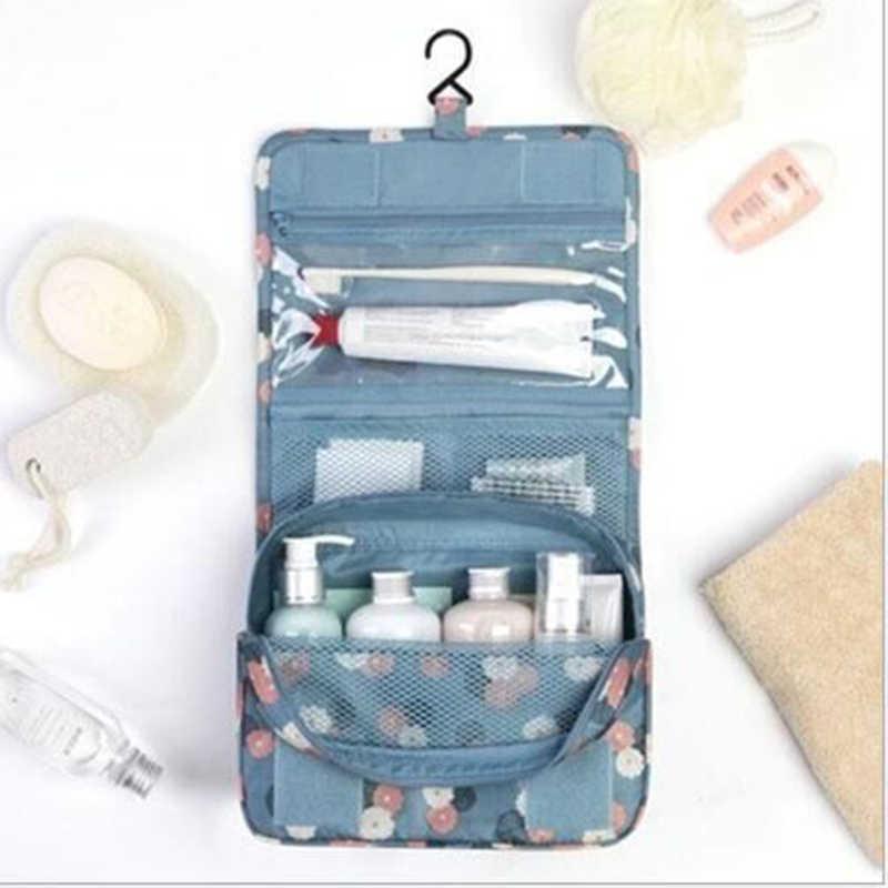 Przenośny Nylon wiszący organizator ścienny składany pojemnik na kosmetyki do makijażu do przechowywania podróży kosmetyczki mycia akcesoria łazienkowe