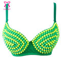 Green/Yellow Resin Beads Brazil Bra Push Up Sexy Bras Top Underwear Women Bralette Burlesque Club Brassiere Soutien Gorge