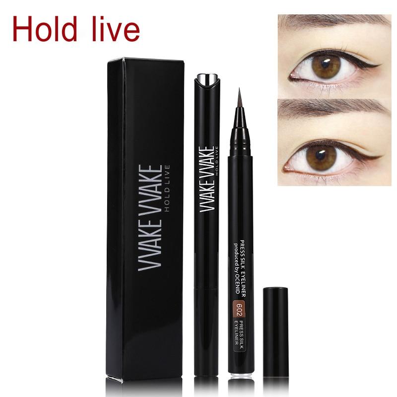 Hold Live New Press Silky Eyeliner Pen Waterproof Ultra Black Brown Liquid Eyeliner Pencil Makeup Long Lasting Fast Dry Eyeliner