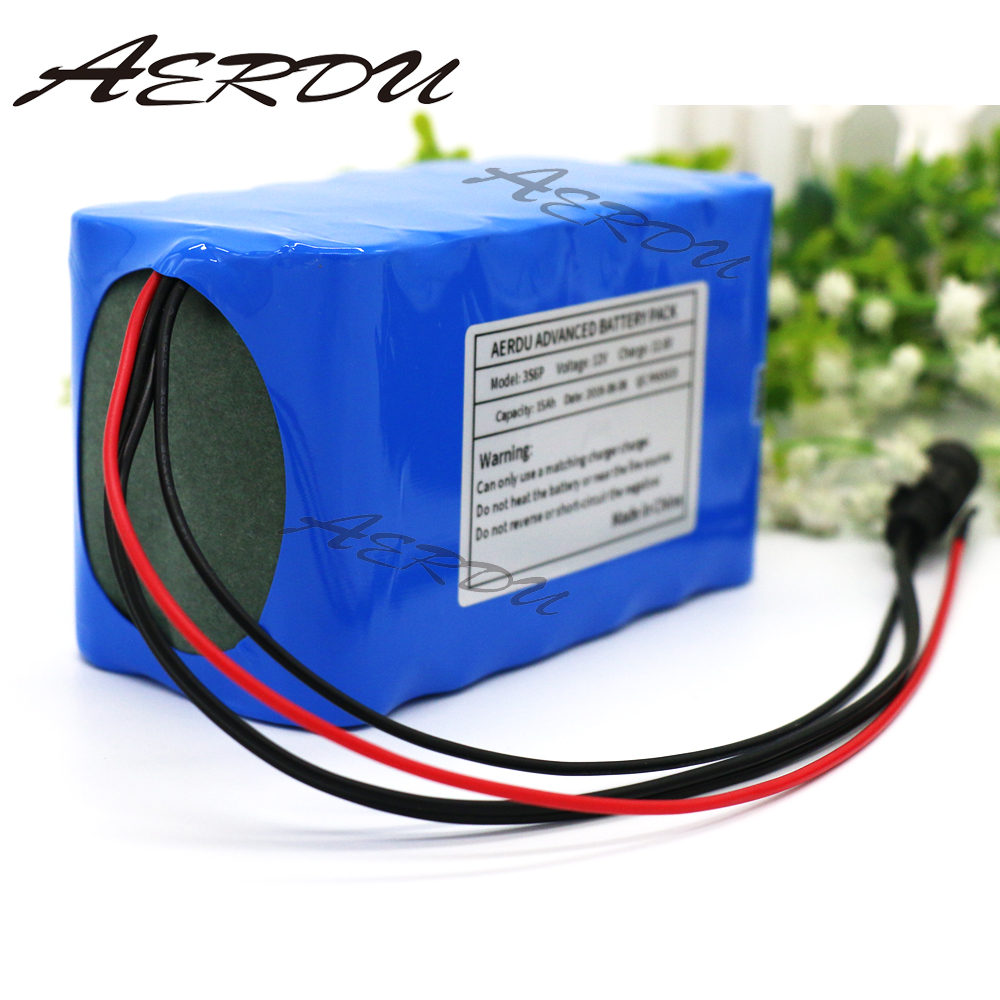 AERDU 3S6P <font><b>12V</b></font> battery <font><b>15Ah</b></font> with 25A BMS 250watt 11.1V 12.6V 18650 lithium batteries pack Xenon lights LED Outdoor fishing CCTV image