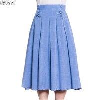 Women Long Pleated Skirts New Summer Elastic Waist Cotton Linen Skirt Large Size Women S A