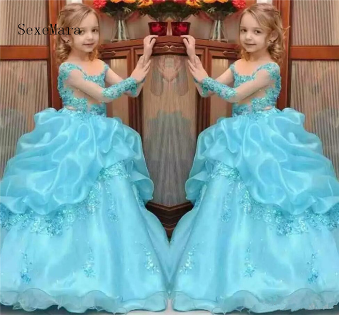 Princess Ball Gown Girls Pageant Dresses Beaded Kids Flower Girl Dress Sheer Neck Lace Beading Long Sleeves Wedding Party Gowns new dubai girl s pageant dresses crystals blue lace ball gown glamorous kids pageant dress flower girls gowns for wedding
