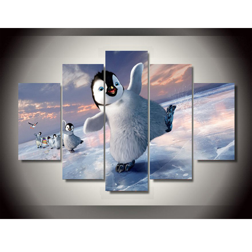 5pcs Online God Penguin Canvas Painting Pictures On The