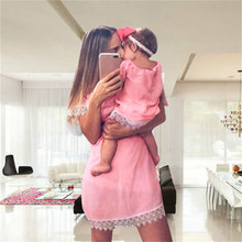 Telotuny Family Matching Outfits Lace side solid mother daughter dresses family matching clothes summer ropa mama e hija JL 12
