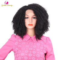 Golden Beauty 12inch Short kinky Curly Afro Wig for African Women Synthetic Lace Front Wigs for Christmas gifts