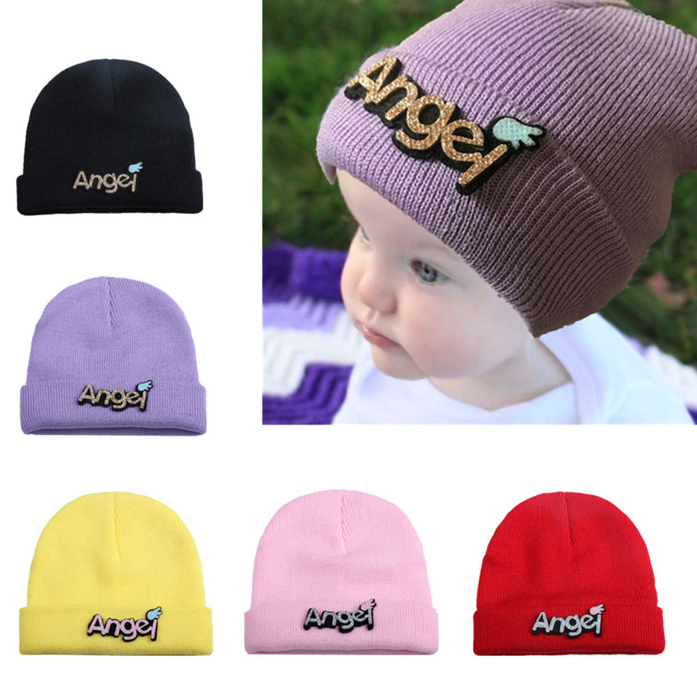 Autumn Winter Baby Knitted Hat Letters Paster Boys Girls Cap Children Kids Warm Beanie Hats AN88