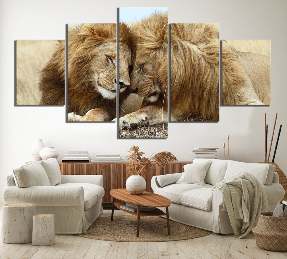 5 Piece Couple Lion Animals Paintings King of Beasts Poster Canvas Art Decorative Paintings Wall Art