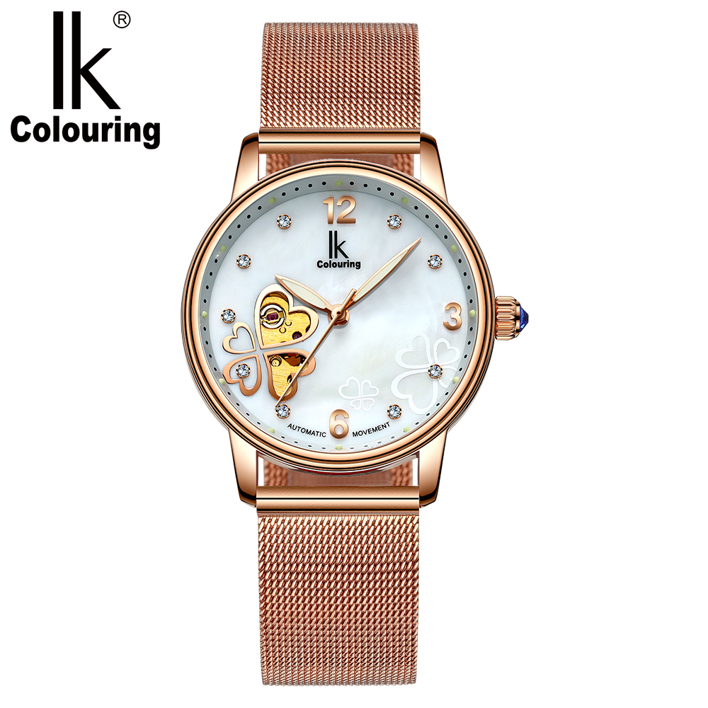 IK Colouring Automatic Women Wrist Watch Stainless Steel Case Female Clock Clover Shaped Skeleton Mechanical Ladies Reloj Mujer