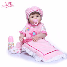 NPK 55 cm Bebe Reborn Dolls Realistic Full Silicone Baby Doll In Cute Soft Plush Clothes Alive Baby Dolls As Girls Playmates(China)