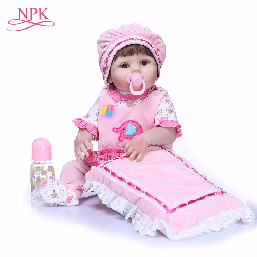 NPK 55 cm Bebe Reborn Dolls Realistic Full Silicone Baby Doll In Cute Soft Plush Clothes Alive Baby Dolls As Girls Playmates
