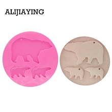 DY0056 DIY shiny Mother bear and baby shape silicone mold Silicone key ring Tumbler Mold for Key Chain