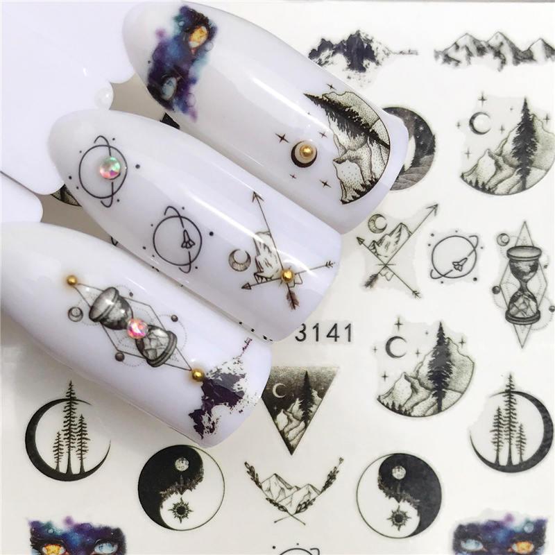 Lcj 1 pc adesivos de unhas água decalque animal flor planta padrão 3d manicure adesivo decoração da arte do prego