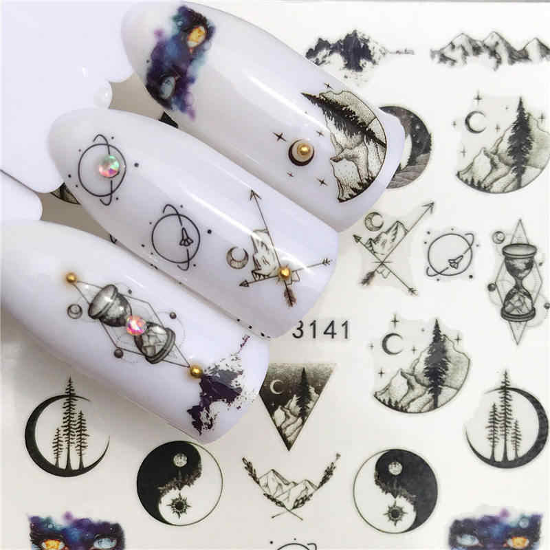 LCJ 1PC Nail Stickers Water Decal Animal Bloem Plant Patroon 3D Manicure Sticker Nail Art Decoratie