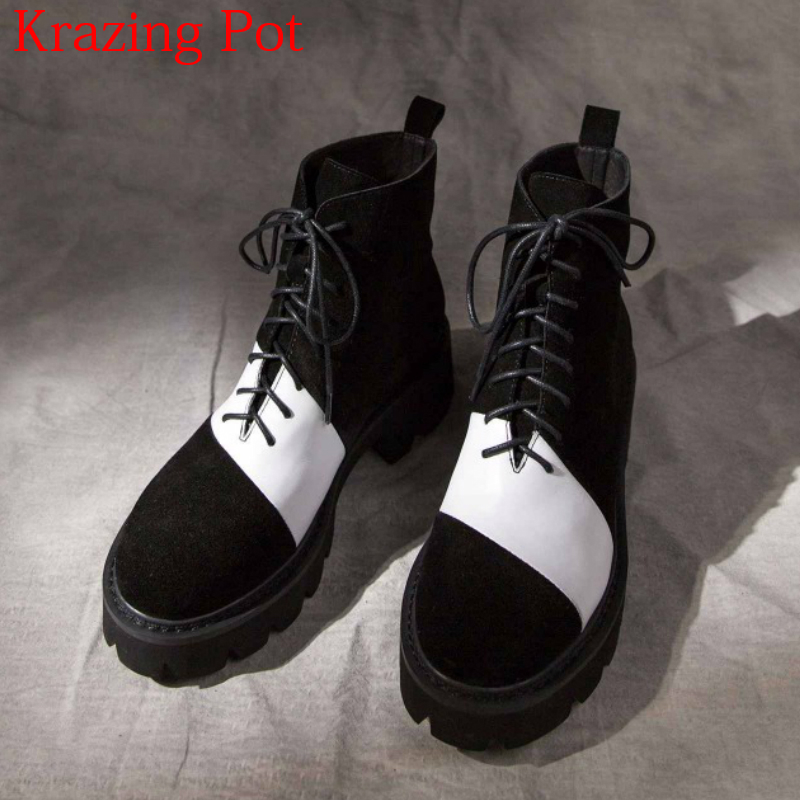 2018 New Arrival Genuine Leather Thick Heels Motorcycle Boots Platform Mixed Color Luxury Lace Up Round Toe Ankle Boots L33 primanova ruby салфетница page 7