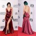 Kylie jenner Sexy Longos Vestidos de Noite 2016 Sexy Com Decote Em V Sem Encosto alta Slit Prom Vestidos de Festa Red Carpet Dress vestidos de noche