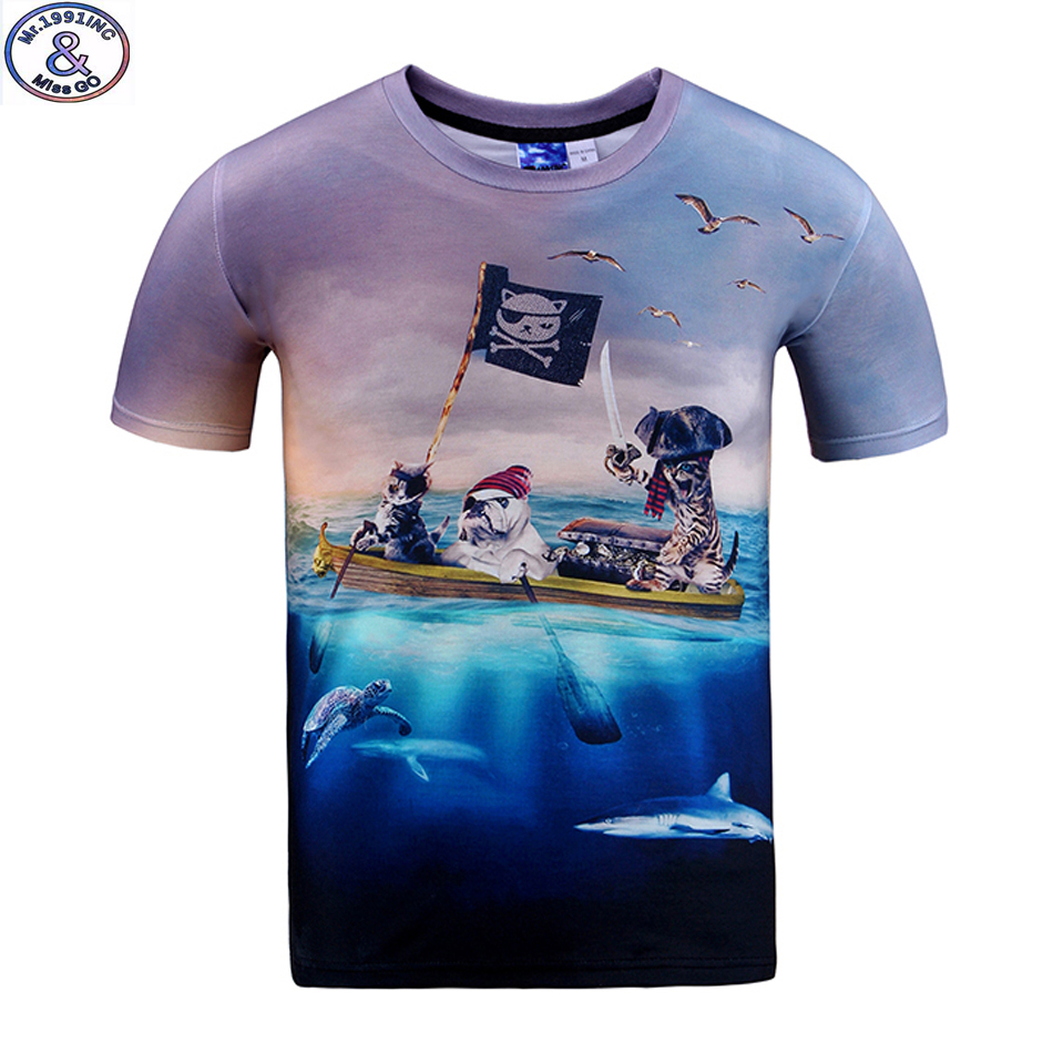 Mr.1991 brand Pirate Cat 3D t-shirt for boys and girls New 2017 summer style teens t shirt big kids 11-20 year tops Hot sale A40