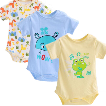 3 PCS/set Baby Bodysuit Infant Jumpsuit Short Sleeve Body Suit Baby Clothing Set Summer Cotton Baby Accessories