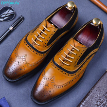 QYFCIOUFU Brand Men Shoes High Quality Genuine Leather Brogue Business Suits Mens Dress Lace Up