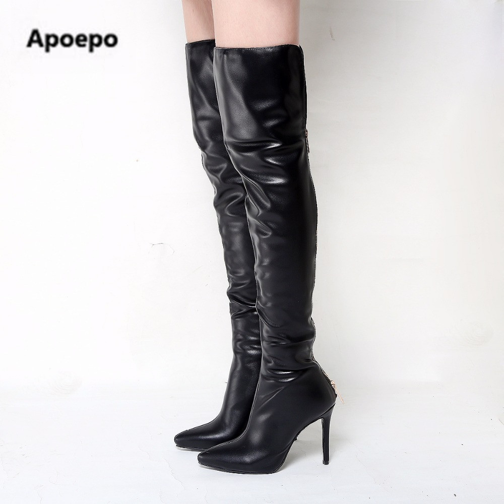 Apoepo design shoes sexy high heels thigh high boots women gold zipper leather suede long boots women pointed toe riding boots apoepo 2018 ankle boots for women black leather suede riding boots sexy high heels shoes women boots pointed toe zapatos mujer