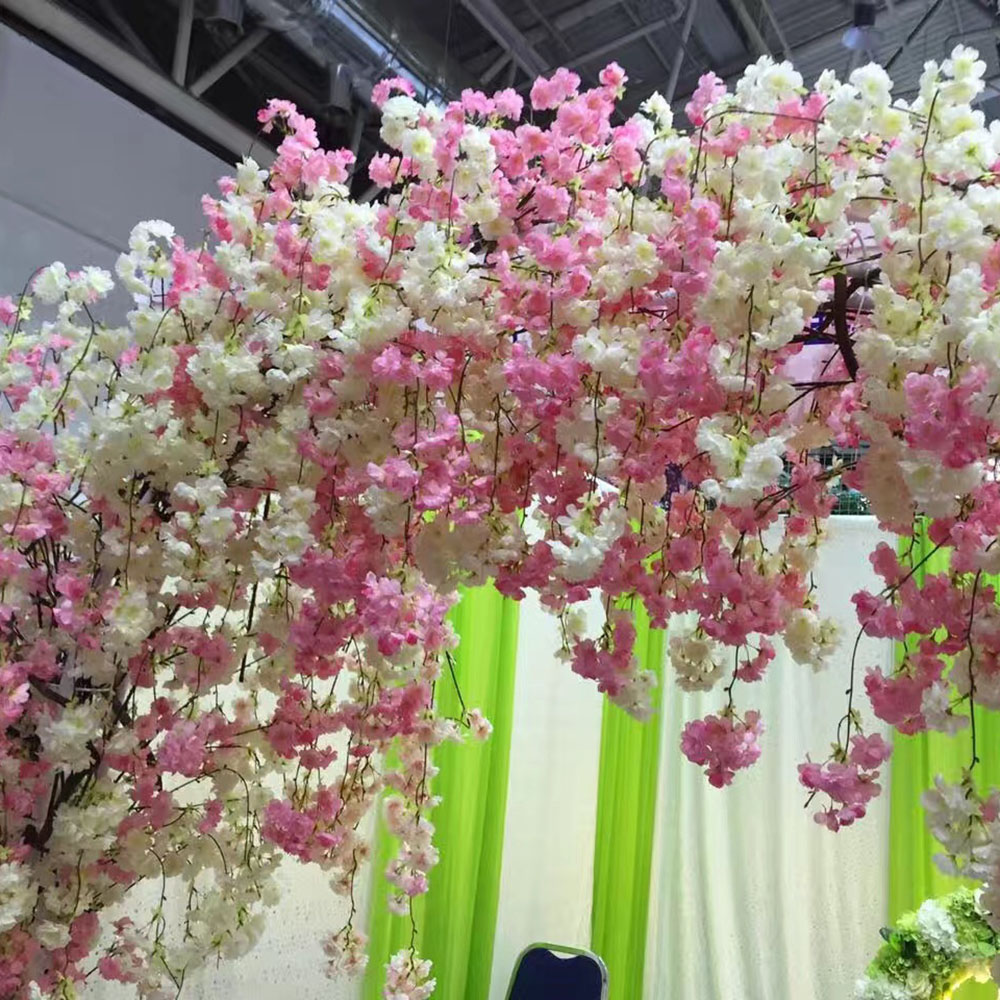 Compare prices on white artificial cherry blossom online shopping silk artificial flowers fake cherry blossoms for wedding christmas party arched door backgrounds decorations white red dhlflorist Image collections