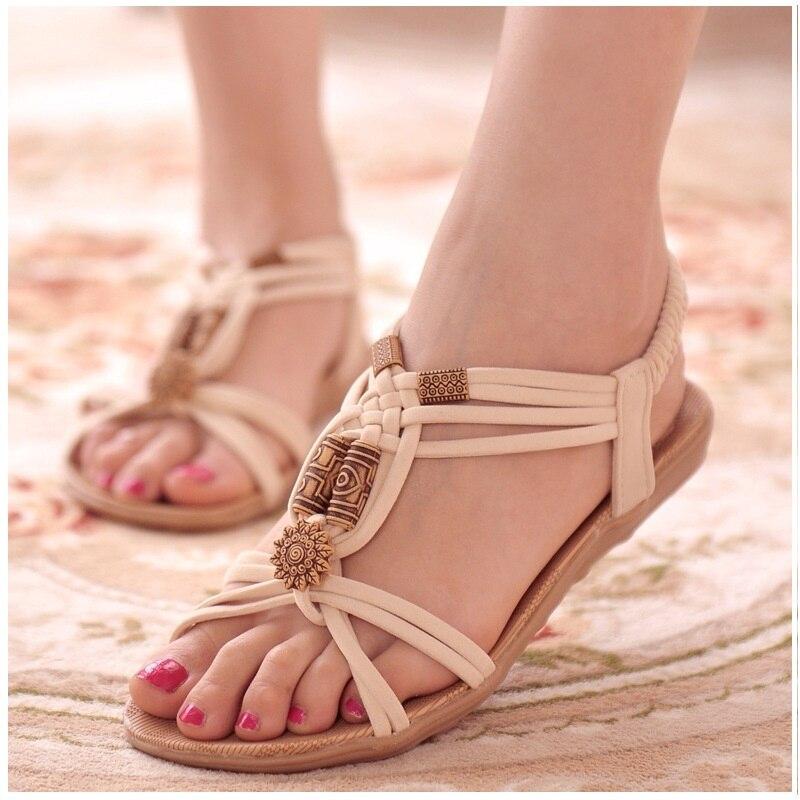 купить Women Sandals 2018 Summer Bohemia Comfortable Ladies Shoes Beach Gladiator Sandal Women Casual Female Flat Sandals Fashion Shoe по цене 495.02 рублей