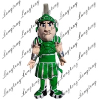 2018 New green warrior, knight, cavalier, paladin Mascot Costume Adult Size Halloween Outfit Fancy Dress Suit Free Shipping