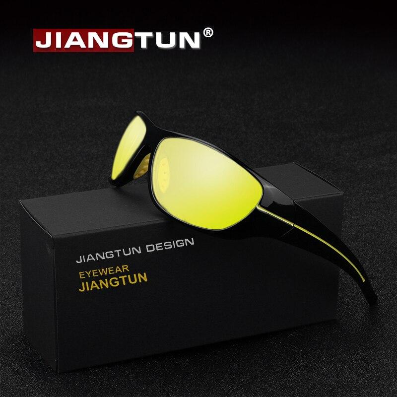 JIANGTUN nueva visión nocturna gafas de sol hombres marca diseñador de moda polarizada noche conducción mejorada luz en lluvioso nublado niebla día