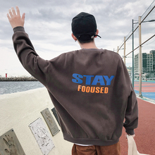 Fashion Casual Mens Hoodie Spring And Autumn New S-2XL Printing Plus Velvet Loose Pullover Four-color Personality Youth Popular