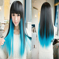 70cm Black Blue Omber Harajuku Cosplay Wig  Long Straight Synthetic Heat Resistance Hair Style Women Wigs Neat Bang Peruk