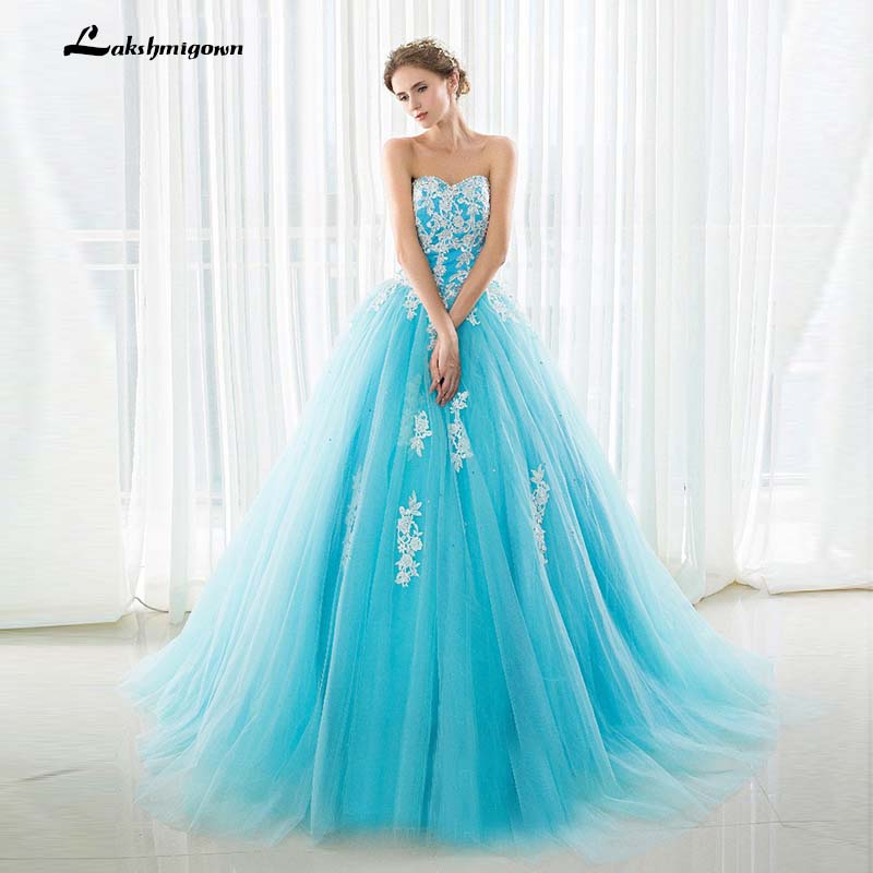 Blue Wedding Gowns 2014: Modest Strapless Ball Gown Wedding Dress With Court Train
