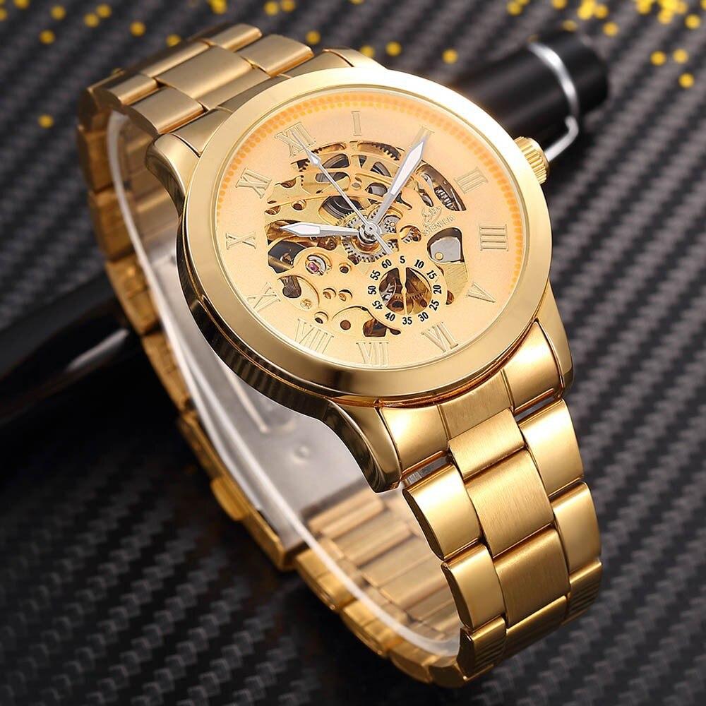 SHENHUA Zegarek męski Luksusowa Moda Mężczyźni Złoty Szkielet - Męskie zegarki - Zdjęcie 6