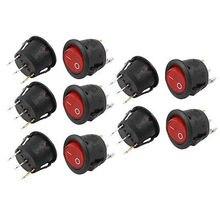10 шт. SPST вкл/выкл Красный свет круглый перекидной клавишный выключатель AC 6A/250 V 10A/125 V KCD1-105N